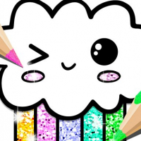 Kawaii Coloring Book Glitter
